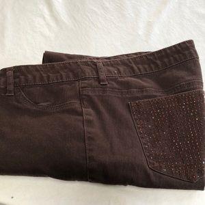 Indigo Reign brown skinny jeans size 16.